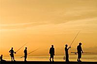 cuba, havana, sunset on the malecon, fishermen.