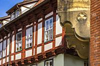 Historic half-timbered architecture at the market square of Quedlinburg, Saxony-Anhalt, Germany.