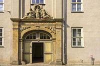 Entrance portal of the historic St. Annen Hospital, a listed building complex in the old town of Quedlinburg in Saxony-Anhalt.