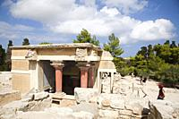 Halls of lustral basin, Knossos palace archaeological site, Crete island, Greece, Europe.