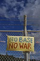 Henoko Bay, Okinawa, Japan: sign against the American Marines military base of Camp Schwab