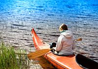 Back of the girl in boat with oar backgorund hd.