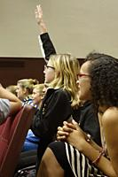 8th Graders Excited During Presentation in Auditorium, Wellsville, New York, USA.