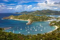 Lookout view from Shirley Heights over Admiral Nelson's Dockyards, Antigua, Leeward Islands, West Indies.