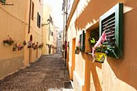 View of small streets in the historic center. Alghero, Sardinia. Italy.