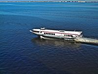 Hydrofoil boat in Neva Bay at St. Petersburg, Russia. Hydrofoils can be used to visit Peterhof the Summer Palace located on the Gulf of Finland, about...