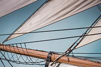 Close-up and detailed view of rigging and sails on the ´Star of India´ at the San Diego Maritime Museum