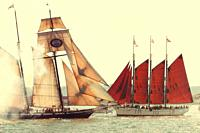 Two antique sailing schooners crossing paths in San Diego Bay, California
