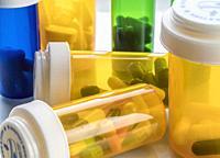 Boats of medicine amber transparent, conceptual image.