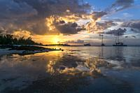 sunset at the coast of Cap Malheureux, Riviere du Rempart, Mauritius, Africa.