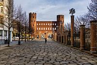 Palatine towers, Porte Palatine ruins of ancient roman town gates in Turin