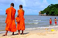Monks enjoying in the beach of Kep, Cambodia.