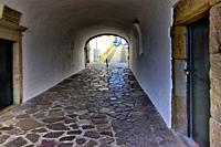 fortified walls surrounding old town of Lagos, here San Goncalo gate - Porta de Sao Goncalo connectiong old town with seaside, beaches and river, Lago...