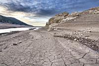 Sunrise and Drought at Belenia reservoir. Guadalajara. Spain.