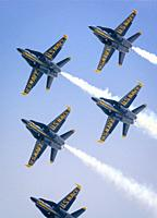 The United States Navy precision flying team, the Blue Angles perform over the skies of Annapolis, Maryland.