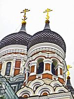 Alexander Nevsky Cathedral on Toompea Hill in Tallinn, Estonia. It is a Russian Orthodox church. Photographed in June 2017 while undergoing some resto...