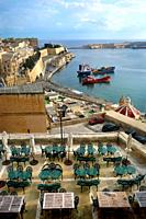The Grand Harbour and Panoramic seen from Barrakka Gardens. Valletta, Malta.