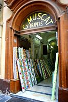 Muscat store drapers in Valletta, Malta.