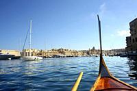 Birgu channel, Three Cities. Valletta, Malta.