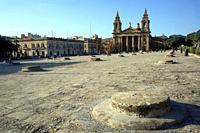 silo under the square and the Saint Plubius Plubio of Floriana. Valletta, Malta.