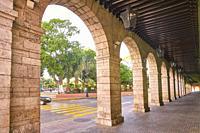 Merida city arcade arcs of Yucatan in Mexico.