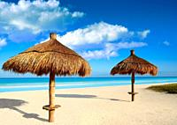 Holbox Island beach sunroof palapa in Quintana Roo of Mexico.