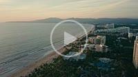 Aerial view at the Nuevo Vallarta coastline of Riviera Nayarit, Mexico, flying North