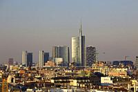 Skyline of Milan with the modern skyscrapers of Porta Nuova, Italy.