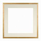 Empty picture frame in a heavily distressed light oak moulding with matte, isolated on white, square format.