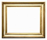 Empty picture frame isolated on white, landscape format, in a distressed gilt finish.