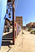 Textile carpets in a souk, Ouarzazate, Morocco, Africa.