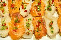 Smoked salmon and smoked cod, Pintxos, Bar Restaurante Portaletas, Parte Vieja, Old Town, Donostia, San Sebastian, Gipuzkoa, Basque Country, Spain