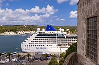 The port at Mahon , Menorca , Balearic Islands , Spain.