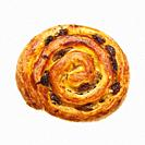 A Pain aux raisin pastry on a white background.