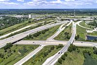 Aerial view of highways, overpasses and ramps in the Chicago suburb of Downers Grove IL. USA.