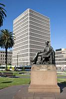 Statue of the poet Adam Lindsay Gordon near Treasury Place offices Melbourne, Australia.