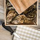 Raw oysters with lemon on wood board and bottle of wine and glass, France.