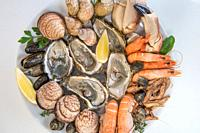 Fresh seafood platter with lobster mussels and oysters, France.