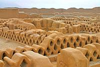 Walls in clay at Chan Chan antique city in clay, Chimu civilitation capital, VIIth to XVth century World Heritage, Trujillo, northern Peru.
