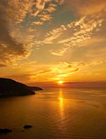 Sunset over the coast of Cape Breton Island, Nova Scotia, Canada.