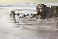 Long exposure in Sopelana Beach, Basque country. When the tide is low the rocks appear, creating courious formations.