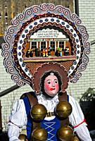 A Beautiful Chlaus with fancy headgear, Urnäsch Silvesterkläuse, St Sylvester mummers, at Old Sylvester, Urnäsch, Canton Appenzell Ausserrhoden, Switz...