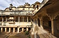 Interior of the atmospheric ruined Bundi Palace, Rajasthan, India.