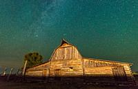 Celestial skies open up above T. A Moulton Barn, Grand Tetons National Park, Teton County, Wyoming. USA.