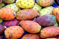 Fruits of the prickly pear cactus on the Fruit market of the Bolzano in South Tyrol.