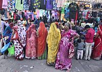 Women shopping in the bazaar of Jodhpur, Rajasthan, India.