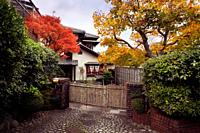 Large house with a garden in Kyoto built in traditional Japanese architectural style. Autumn scenery in Japan.