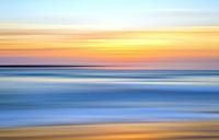 Coastal sunset with motion blur effect. California, USA