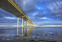 The Ocean Beach Pier photographed on a cloudy morning. San Diego, California, USA.