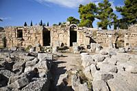 Europe, Greece, Peloponnese, ancient Corinth, archaeological site, west shops.